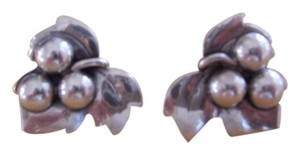 Joan Polsdofer JoPol Signed Vintage Sterling Grape Cluster Clip On Earrings