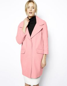 ASOS Cocoon Jacket Pockets Notched Lapels Bracelet Sleeves Dropped Shoulders Textured Cotton High Street Pea Coat