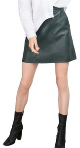 Zara A-line Faux Leather Mini Skirt Green