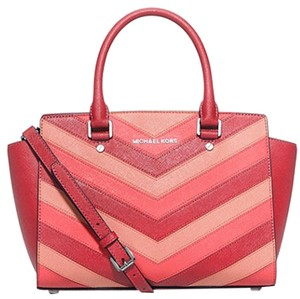 Michael Kors Saffiano Leather Selma Jet Set Item Toe Satchel in Coral Pink/ Silver tone