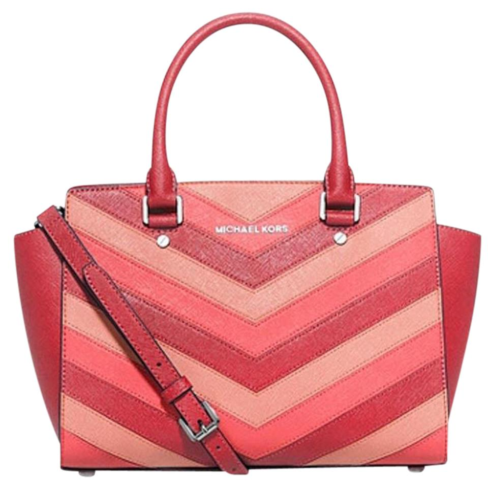 2a38a7fa0adc Michael Kors Selma Medium Top Zip Chevron Coral Pink Silver Tone Saffiano Leather  Satchel