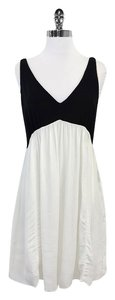 Sandro short dress Black & White Sleeveless Silk on Tradesy