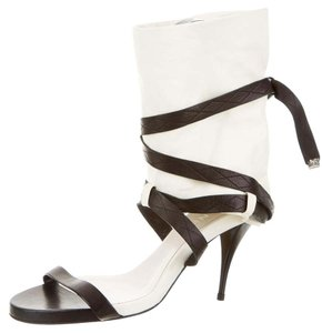 Chanel Peep Toe Ankle Strap Silver Hardware Cc Black, White Sandals