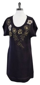 Yoana Baraschi short dress Black Short Sleeve Beaded Floral on Tradesy