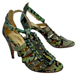 Coach Green & Blue Snakeskin Heels Sandals