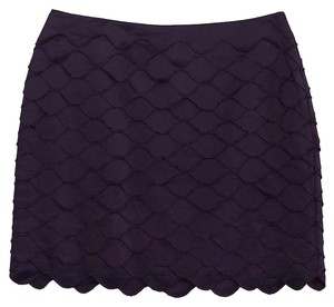 Reiss Plum Tiered Scallop Mini Skirt