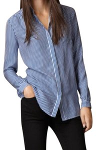 Burberry Brit Silk Saphire Top Blue and white