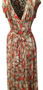Coral, Tan Maxi Dress by Janette Maxie