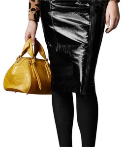 Burberry London Pencil Patent Leather Skirt Black