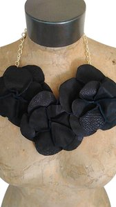 Tracey Vest Black Leather 3 Rosette Neckpiece