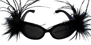 Black Ostrich Feather Embellished Black Sunglasses