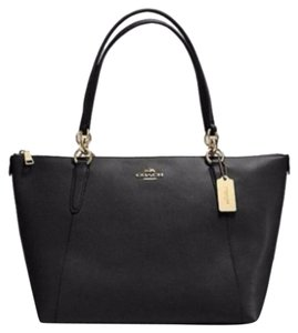 Coach Satchel Leather Satchel Tote in Black/gold tone