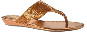 Enzo Angiolini Sequin Wedge Sandal Bronze Sandals