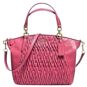 Coach Hobo Twisted Leather 37081 Satchel in Dahlia / gold tone