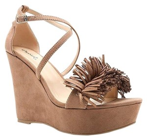Qupid Khaki Camel Tan Nude Taupe Wedges