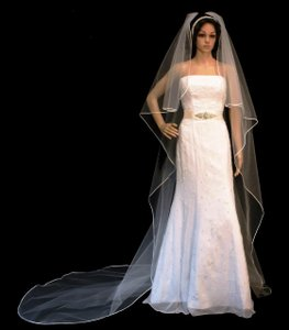 White Cascade Style Soutache Edge Cathedral Length Wedding Veil
