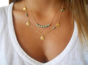 geometric triangle charm beaded necklace Multi layered Gold chain and beaded turquoise gold coin necklace,layering turquoise necklace, 2016 jewelry necklace trend