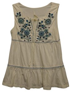 Anthropologie C.keer Embroidered Sleeveless Top off white