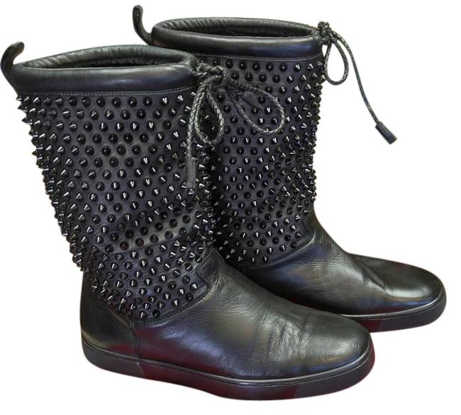 Item - Black Red Sole Nazza Flat Nappa Surlapony Spike - Boots/Booties Size US 10 Regular (M, B)