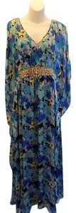 Blue Maxi Dress by Badgley Mischka Long Size Small Floral