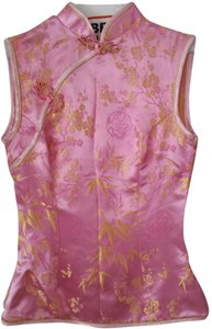 Unknown Japanese Brocade Girls Size 00 Sleeveless Under 10 Top Pink