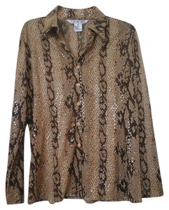 Misook Button Down Shirt Animal print