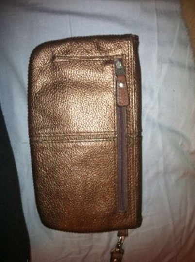 Fossil Leather Foldover Maddox Wristlet Bronze Clutch