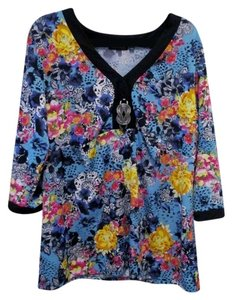 Notations Stretch/Fitted Metal Accent Xl Top Floral
