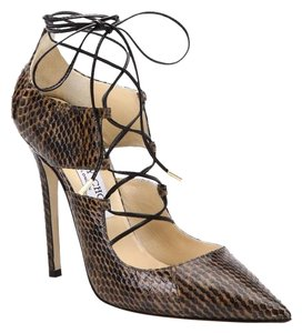 Jimmy Choo Hoops Lace Up Snakeskin BROWN Pumps