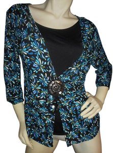 Notations Black Beaded Madallion Top Teal, lavender, brown, Ivory