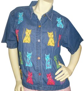 New Directions Denim Cats Cotton Short Sleeves Button Down Shirt Pink, purple, yellow, teal & green