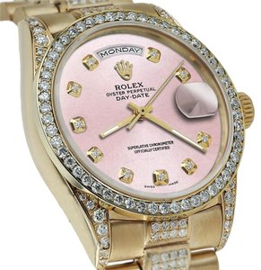 Rolex Rolex Presidential Day Date Metallic Pink Dial Diamond Watch 18 KT Yellow Gold