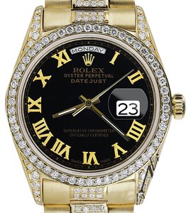 Rolex Rolex Yellow Gold Presidential Day-Date 36MM Black Dial Diamond Watch 18 KT gOLD