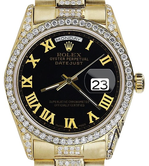 rolex yellow gold presidential day date 36mm black dial. Black Bedroom Furniture Sets. Home Design Ideas