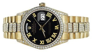 Rolex Rolex Yellow Gold Presidential Day Date 36MM Black Dial Diamond Watch 18 KT Gold