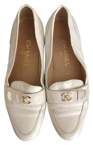 Chanel Loafer Leather White Flats