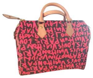 Louis Vuitton Speedy 30 Limited Edition Grafitti Pink Satchel in fuchsia/ pink