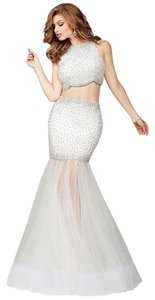 Jovani Crystals 2 Piece Sheer Skirt Dress