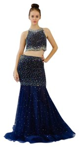 Jovani Crystals 2 Piece Sheer Skirt Prom Pageant Dress