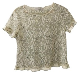 Ann Taylor LOFT Lace See-through Vintage T Shirt ivory/black