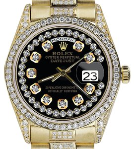 Rolex Rolex Presidential Day Date Glossy Black Dial Diamond Watch 18 KT Yellow Gold