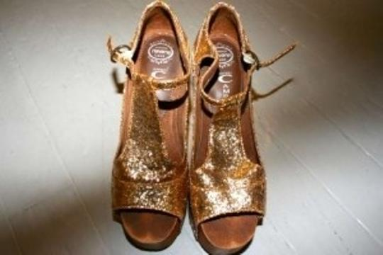Jeffrey Campbell Fun Club Comfy Fancy Gold Platforms