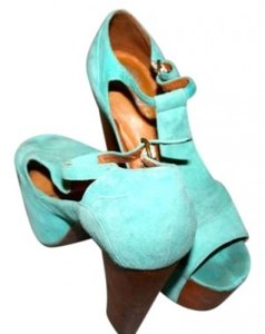 Jeffrey Campbell Foxy Fun 70s Summer Comfy Teal Suede Platforms