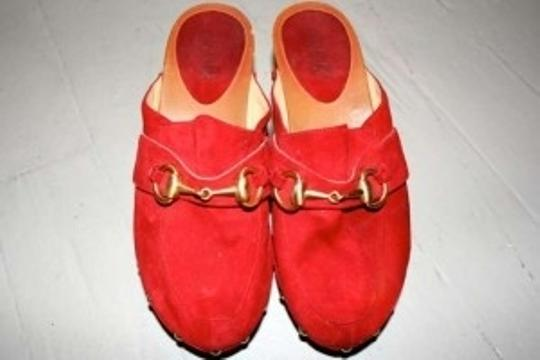 Gucci Vintage Slip On Classic Red Mules