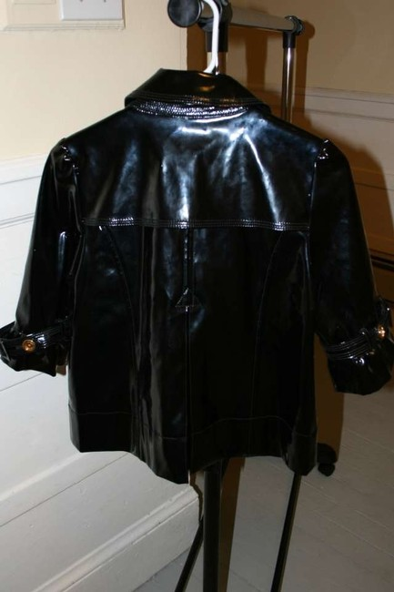 Juicy Couture Shiny Raincoat Coat Black Vinyl Jacket