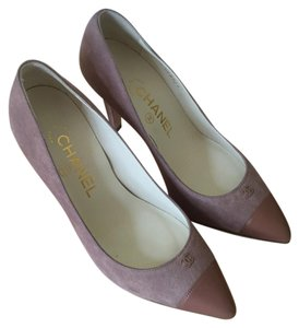 Chanel Suede Pointed Toe Hidden Platform Leather Pink Pumps