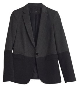 Zara Black Grey Work Color Block Blazer