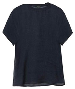Versace Made In Italy With Tags Linen T Shirt Navy Blue