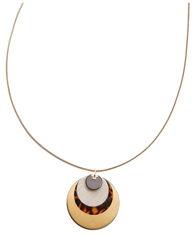 Tory burch gold disc pendant necklace tradesy tory burch disc pendant aloadofball Choice Image