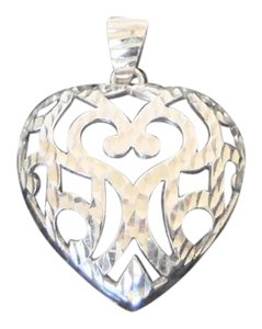 Technibond Technibond Platinum Over .925 Sterling Silver Filigree Heart Pendant